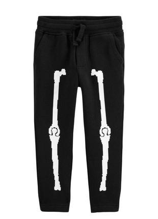 «скелет» тёплые штанишки с рисунком «кости» от h&m