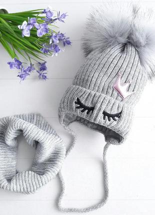 Красивый качественные комплек шапка хомут