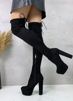 Шикарные черные ботфорты деми на высоком устойчивом каблуке