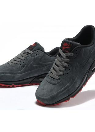 Кроссовки nike air max 90 vt gray red серые мужские