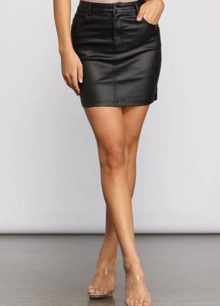 Кожаная мини юбка из натуральной кожи talking french