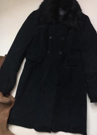 Замшеве пальто 38/m stradivarius