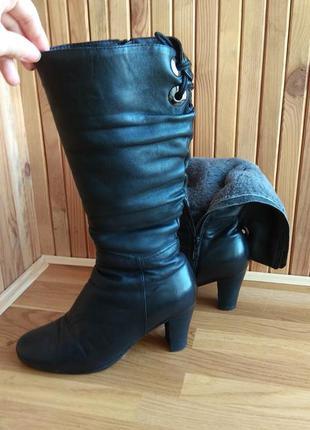 Сапоги кожаные зимние чёрные, зимние сапоги кожаные на устойчи...