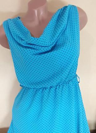 Платье шифоновое, платье в мелкий горох, платье шифоновое с аж...