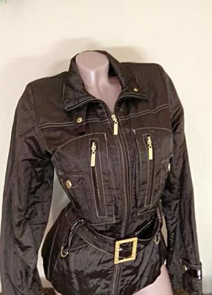 Куртка milanova коричневая, ветровка плащевка с вышивкой, деми...