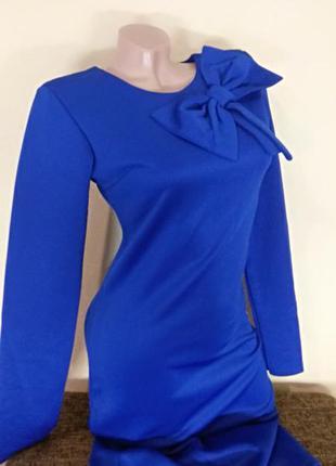 Стильное деловое платье электрик, платье с бантом электрик, пл...