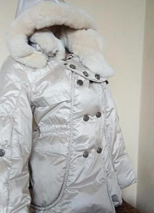 Куртка с опушкой кролика, приталенная куртка