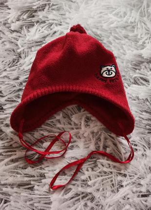Шапка флисовая, шапка демисезонная красная