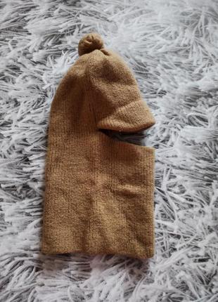 Шапка шлем на мальчика, шапка зимняя бежевая