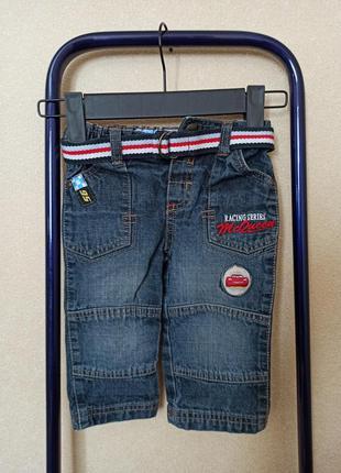 Джинсы disney темно-синие с поясом, стильные джинсы на мальчика
