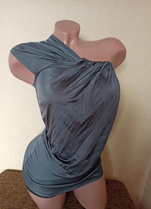 Блуза серая, топ на одно плечо серый