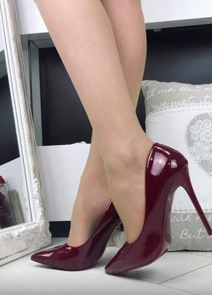 Туфли лаковые бордовые, туфли лодочки марсала венгрия