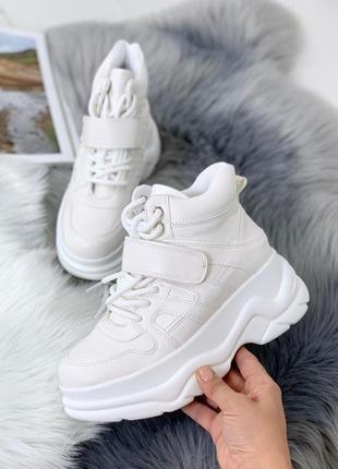 Хайтопы кожаные белые, кроссовки белые высокие