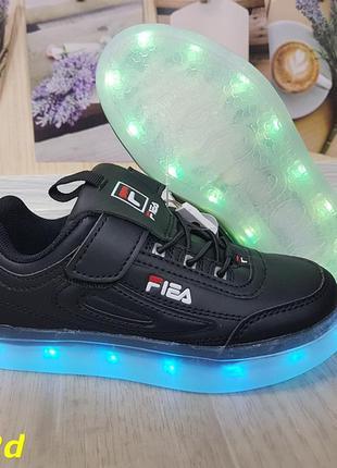 Кроссовки детские led светящиеся, кроссовки детские чёрные