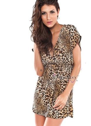 Брендовое леопардовое вечернее короткое мини платье туника sty...