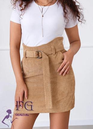 Юбка вельветовая хаки, юбка короткая вельвет, юбка с высокой т...