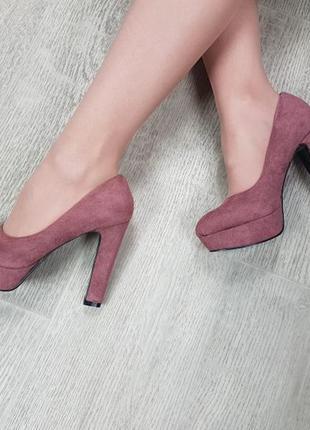 Туфли пудровые эко-замш, туфли на устойчивом каблуке, туфли за...
