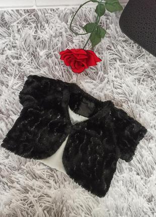 Шубка черная на девочку, накидка меховая с пайетками черная, ш...
