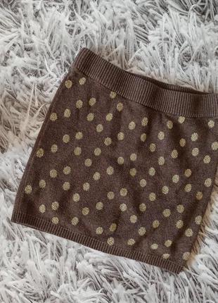 Юбка h&m короткая коричневая, юбка в горошек мини коричневая
