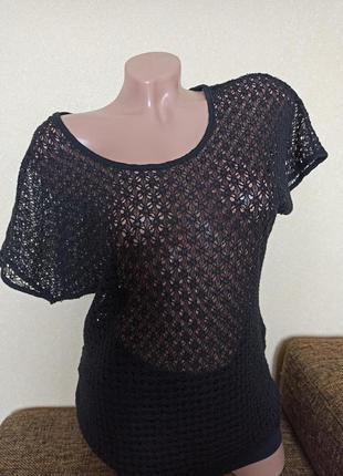 Туника сетка плетение чёрная, туника b.young black, футболка с...
