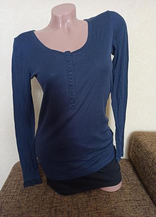 Реглан h&m синий, женский реглан рубчик синий, пижама h&m верх