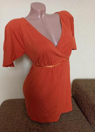 Туника h&m mama, туника для беременных, футболка h&m orange