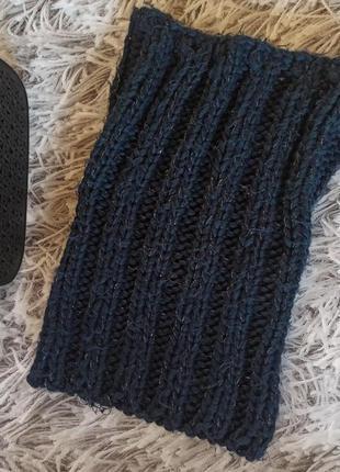 Шарф хомут синий с люрексом, шарф хомут темно-синий