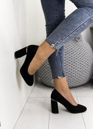 Туфли замшевые на устойчивом каблуке, туфли замшевые черные, ж...