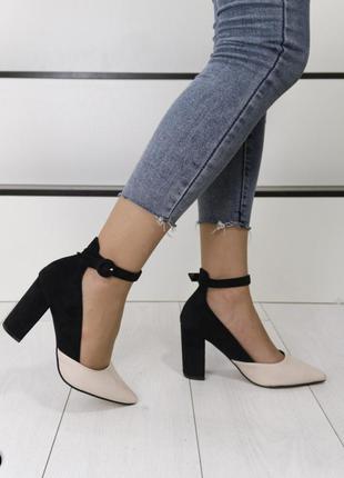 Стильные туфли комбинированные, туфли на устойчивом каблуке, к...