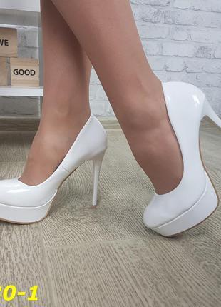 Туфли лаковые белые на высоком каблуке, туфли белые на платфор...