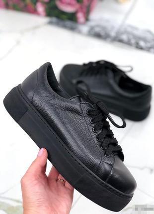Кроссовки натуральная кожа, кеды кожаные на высокой платформе,...