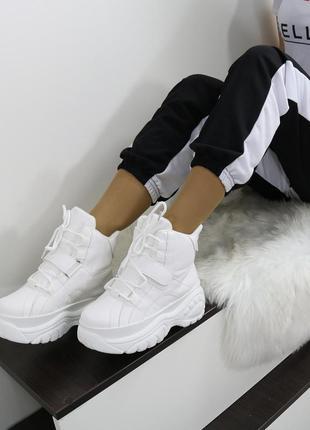 Хайтопы кожаные белые, ботинки кожаные демисезонные, кроссовки...