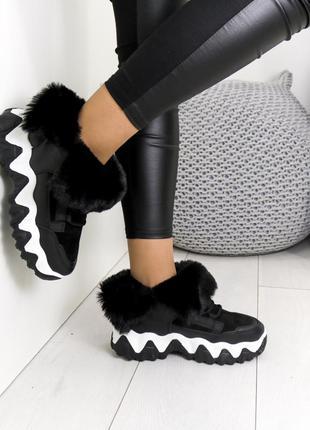 Ботинки комбинированые зимние, женские зимние ботинки на танке...
