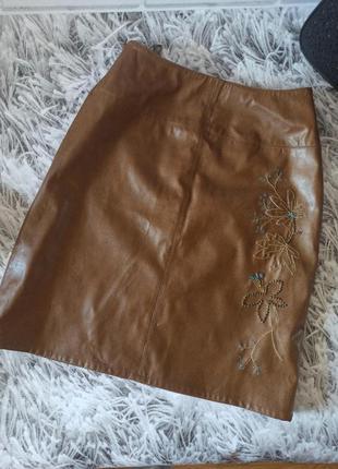 Юбка кожаная, юбка коричневая