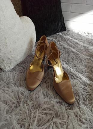 Туфли текстильные gody золотистые, туфли на устойчивом каблуке...