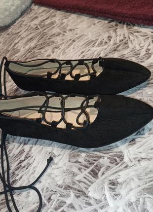 Туфли spot on black, туфли замшевые на низком каблуке, балетки...