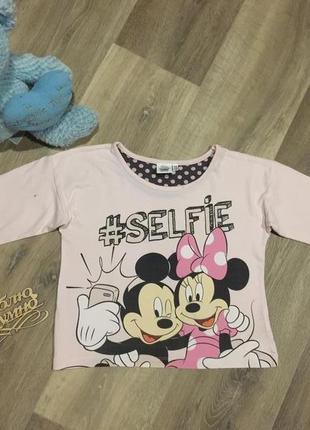 Красивый укороченный реглан\футболка с микки и минни маусами*с...
