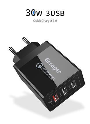 Быстрое сетевое зарядное устройство Essager 30 Вт 3,0 USB QC3.0 Q