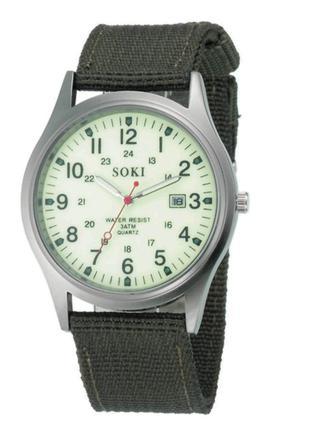 Кварцевые мужские матовые наручные часы с ремешком Zegarek (зелен