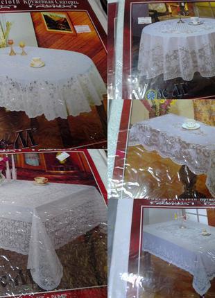 Клеенка виниловая скатерть на стол кружевная