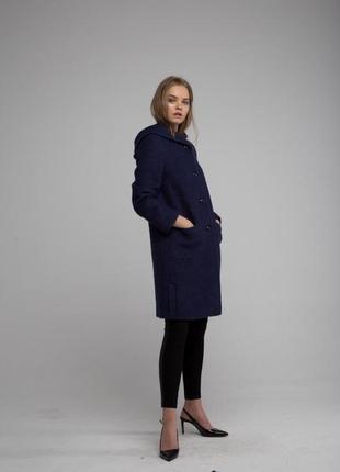 Женское пальто season синее с бордовыми вкраплениями