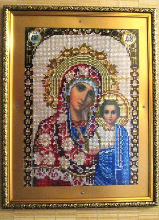 Божья Матерь Казанская,вышивка стразами,алмазная мозайка,икона