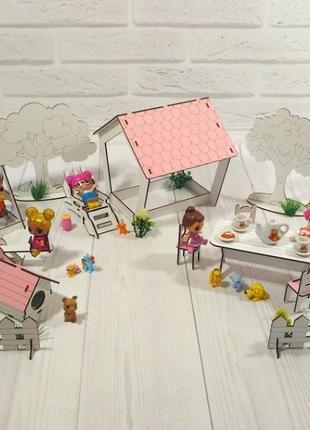 Мебель для кукольного домика. 18 предметов.