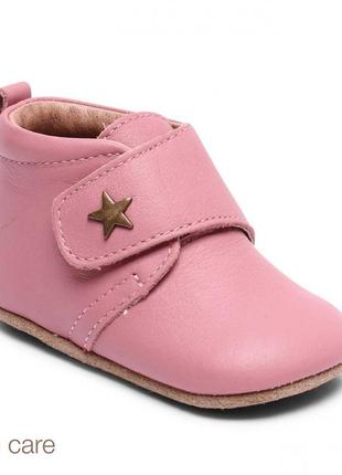 Bisgaard baby star pink розовые кожаные тапочки на липучках 14 см