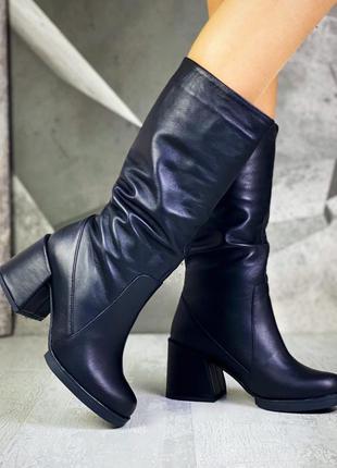 Сапоги женские классические женские на квадратном удобном каблуке