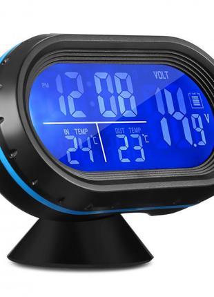 Автомобильные часы с термометром и вольтметром VST 7009