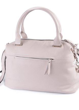 Бежевая кожаная женская сумка саквояж с длинным ремешком через...