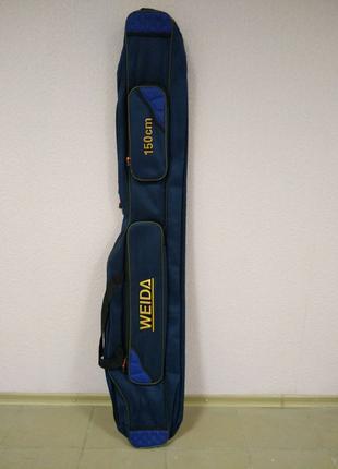 Чехол для удилищ 150 см 2 отсека полужесткий Weida цвет синий