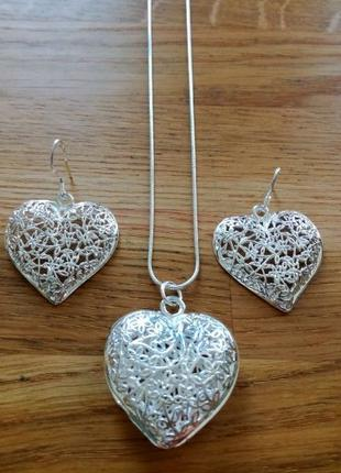 Шикарный комплект Сердце цепочка сережки кулон подарок девушке...