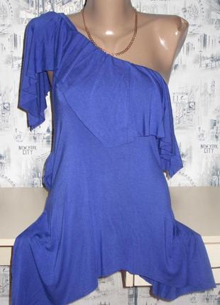 Блуза, футболка на одно плечо в цвете индиго